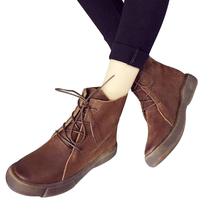 Retro Punk Style Women Shoes Fashion Lace-up Boots Oxford Button Round Toe Ankle Boots