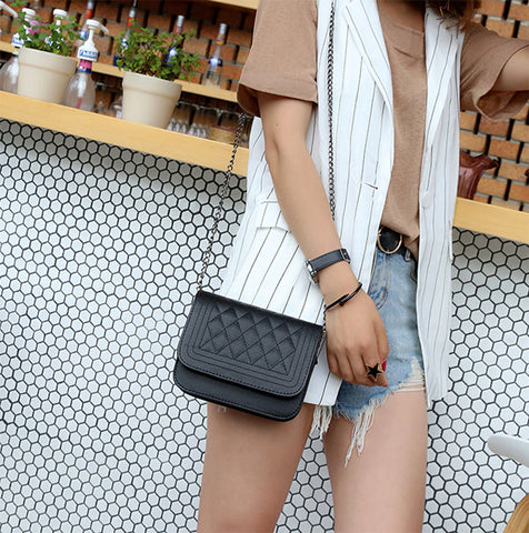 PU Leather Women Messenger Bag Plaid Ladies Crossbody Bag Chain Trendy Candy Color Small Flap Shopping Handbag