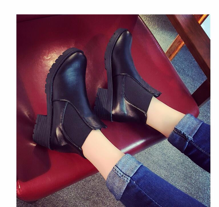 Fashion Women Ankle Boots Round Head Thick Bottom PU leather Waterproof Woman Martin Boots - Style Lavish