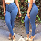 Women Summer Autumn Stylish High-Waisted Blue Solid Pocket Design Slimming Jeans Pants