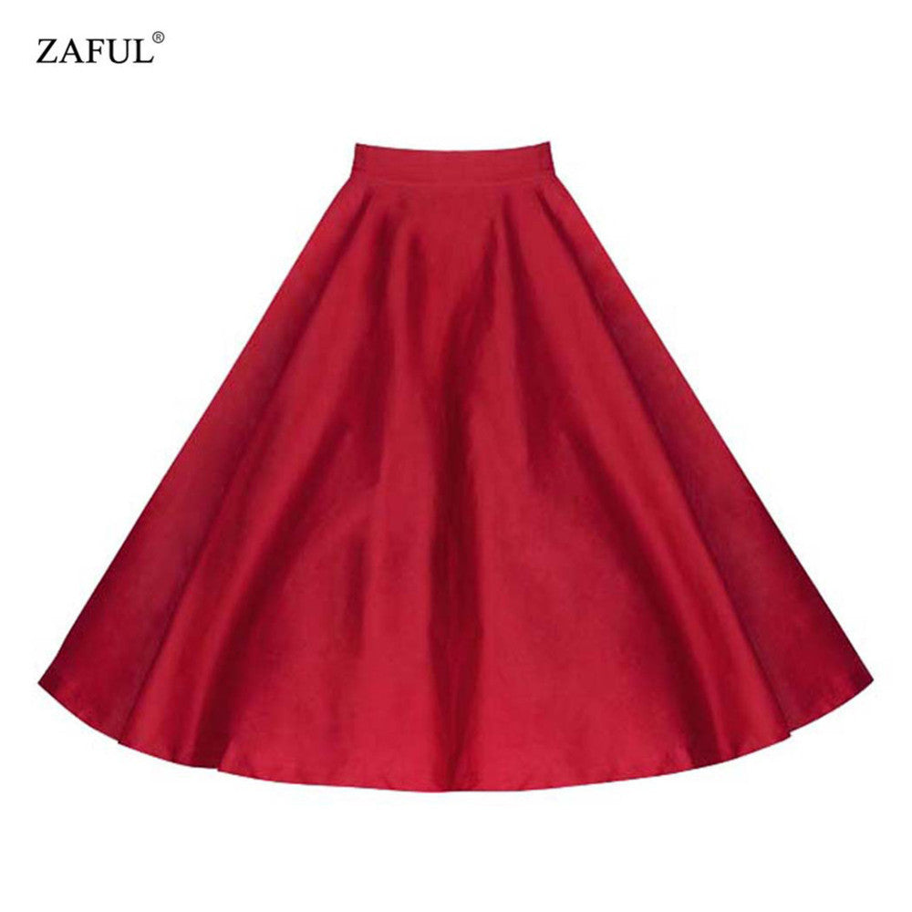 Summer Wop Loose Woman Girls Solid Vintage Ball Gown Knee-Length Skirt Casual Work Skirts