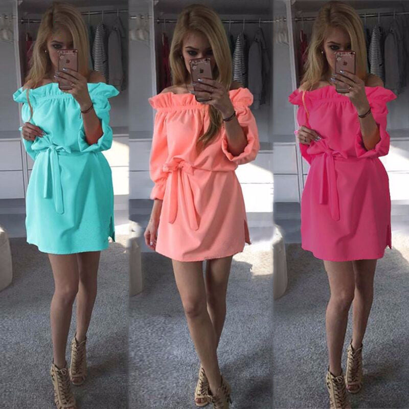 Fashion Women Summer Loose Straight Asymmetrical Dresses Casual Puff Sleeve Sexy Strapless Slash Neck dress - Style Lavish