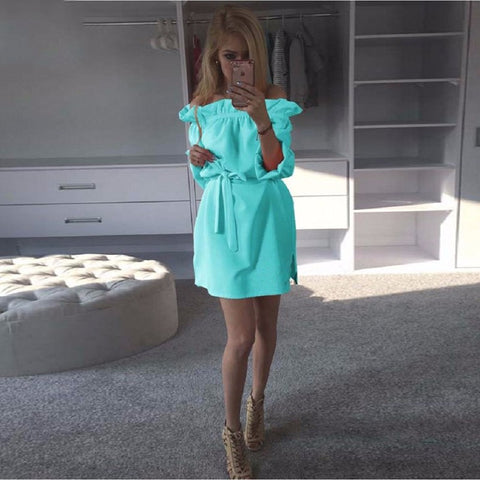Fashion Women Summer Loose Straight Asymmetrical Dresses Casual Puff Sleeve Sexy Strapless Slash Neck dress