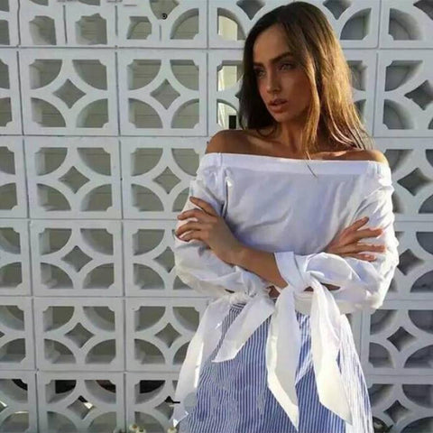 Women Fashion Casual Summer  Bow Tie Loose Blouse Slash Neck Off Shoulder Tops Stripe Long Shirts