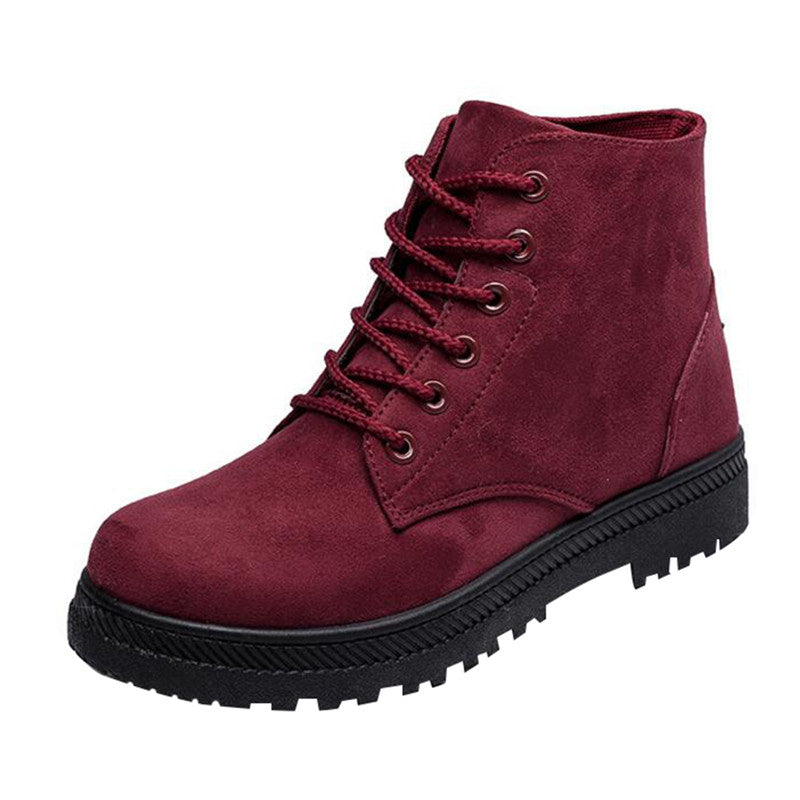 British Style Women Snow Boots Fashion Winter Warm Shoes Lace-up Women Winter Boots - Style Lavish
