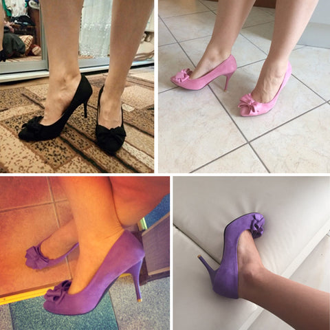 Women Pumps Spring Pointed Toe Basic Thin High Heels Bow Shoes