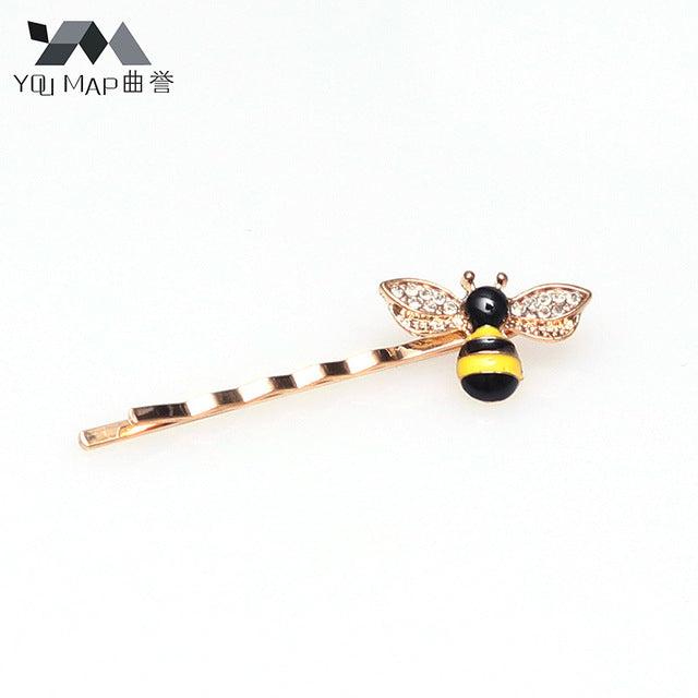 1pc New Women's Casual Cute Delicate Hairwear Paint Rhinestone Bee Hair Clips Hairpins Hair Accessories - Style Lavish