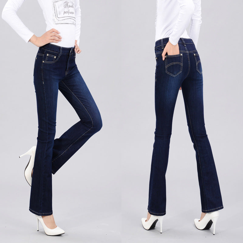 Autumn High Waist Flare Jeans Pants Plus Size Stretch Skinny Jeans Women Wide Leg Slim Hip Denim Boot Cuts - Style Lavish