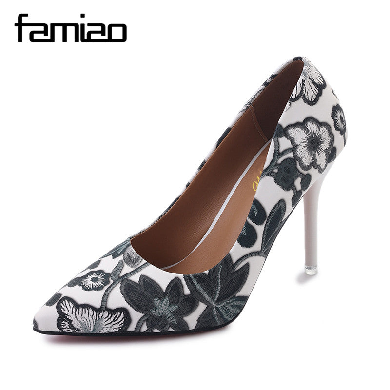 Women Extreme Pumps Shoes Embroidery High Heels Stiletto Flower Shoes Thin Heel Pointed Toe