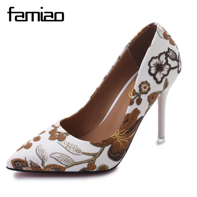 2292efb96d8 Women Extreme Pumps Shoes Embroidery High Heels Stiletto Flower Shoes