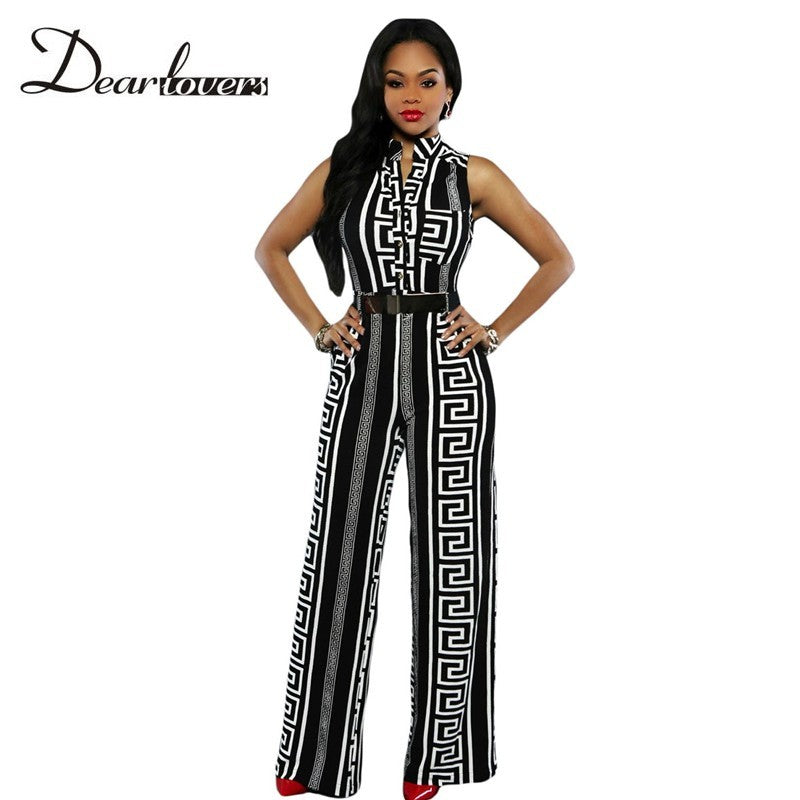 Women Summer Overalls Stylish Long Jumpsuits Black Print Gold Belted