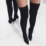 Women Fashion Over The Knee Heel Boots Winter Short Dress Casual Elegant Shoes