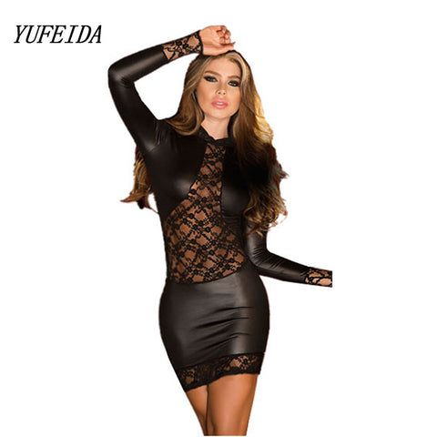 Black Wetlook Lace PVC Dress Bodycon Fetish Faux Leather Gothic Long  Sleeves O-Neck Dress ddbe9d409874