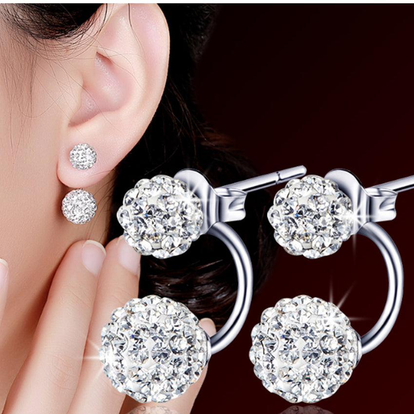 Women Luxury Shambhala Crystal Ball Stud Earrings Fashion Silver Plated Stud Earrings