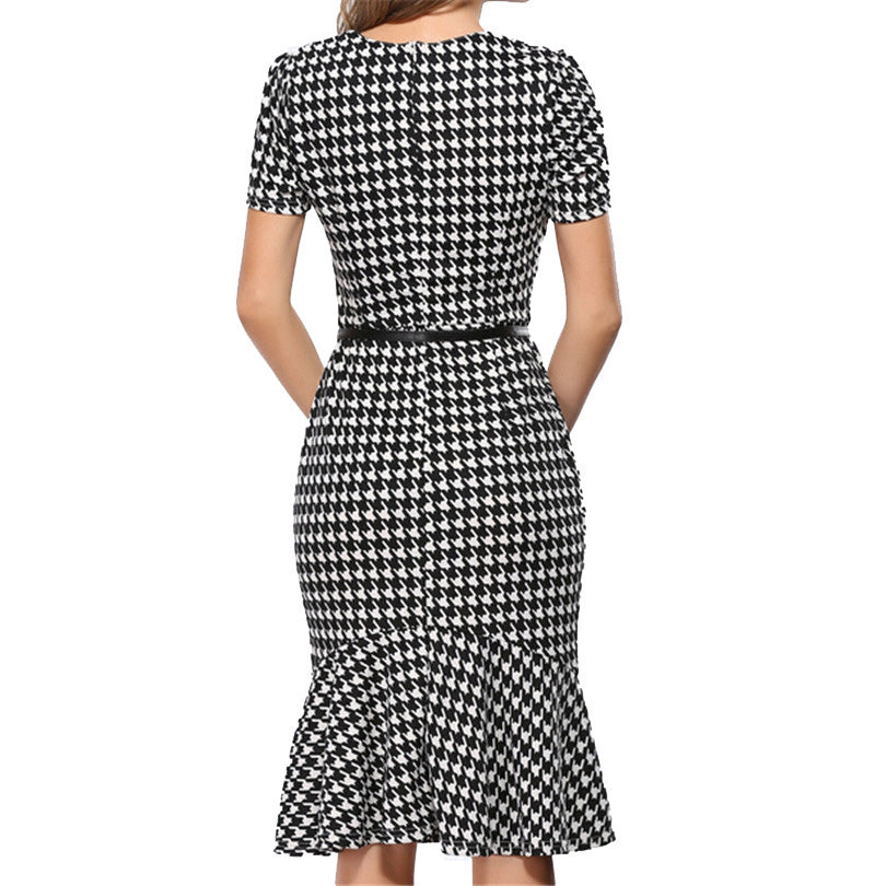 Women Elegant Dresses Houndstooth Knee-Length Mermaid Summer Pencil Bodycon