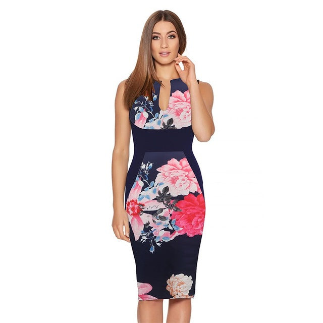 Women Summer Dresses Vintage Floral Print Cocktail Party Bodycon Penci 46168123fee0