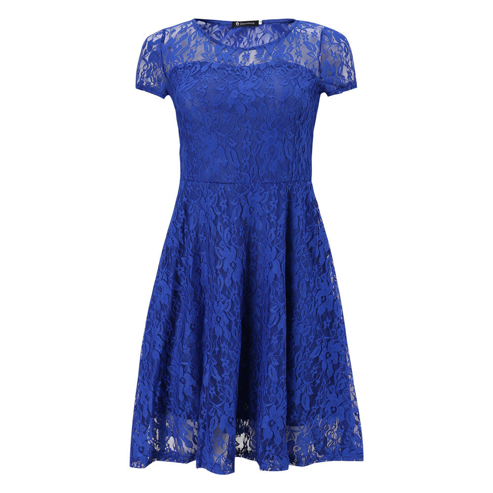 Women Lace Dress Vintage Clothing Summer Casual Mini Dresses