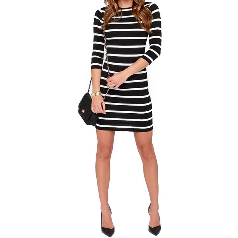 Spring Summer Women Round Neck Fashion Striped Long Sleeve Straight Casual Dress