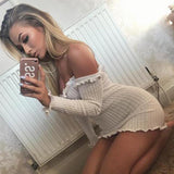 Women Autumn Bodycon  Sexy Off Shoulder Slash neck Knitted Dress Elegant Long Sleeve Tight Slim Dress