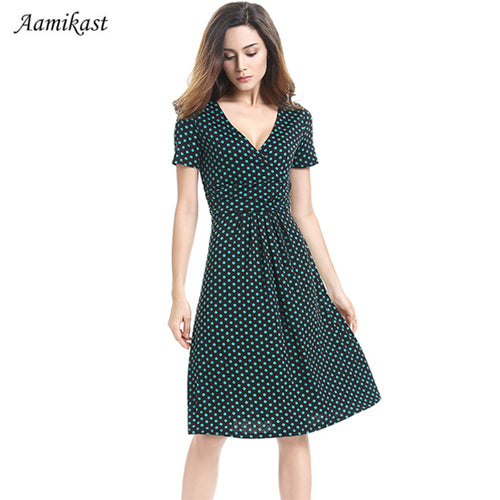 Women Dresses Summer Autumn Winter Casual Fashion V-neck Short Sleeve Dress