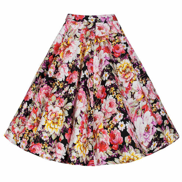 Spring Solid Color Big Swing High Waist Ball Gown Skirt Women Casual Retro Midi Skirt Cotton Skirts