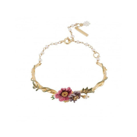 Leaf Flower Enamel Romantic Bracelet  Fashion Gold Chain Women Jewelry