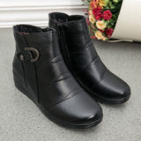 Women Genuine Leather Snow  Ankle Martin Boots Wedges Platform Winter Warm Boots Short Plush Shoes