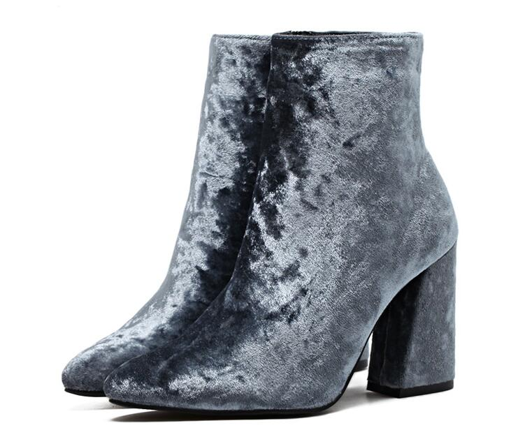 Autumn Winter Ankle Boots Shoes High Top Corduroy Velvet Ankle Boots Booties Pump Block Heels - Style Lavish