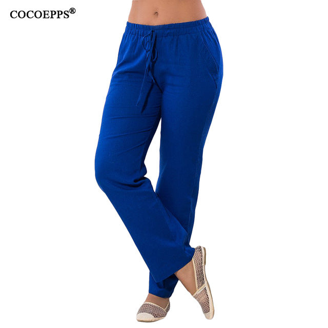 Women Autumn Harem Elastic Waist Pants Casual Solid Chiffon Long Pants Trousers