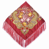 Women Fashion Square Winter Wrap Scarf Luxury Brand  Tassel Bandana Shawl Floral Designer Poncho Headband