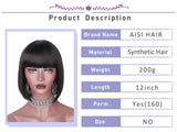 12'' Black Bob Wig Short Synthetic Wigs For  Women Black Heat Resistant  Hairpieces - Style Lavish