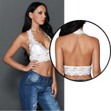 Lace Crop Sexy backless Hollow Out Halter Neck Lace Bralette Short