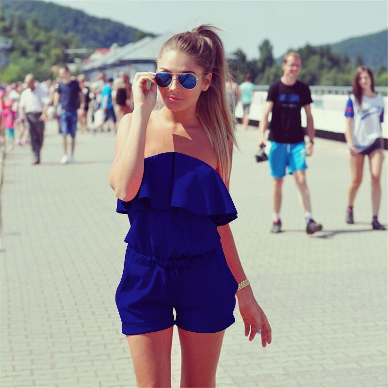 Summer Women Fashion Casual ruffles Strapless waist tightening jumpsuit Women Rompers