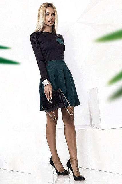 Autumn Winter Casual Dress Women Chest Pocket Sexy Patchwork Dresses long Sleeve A-Line Mini Dress - Style Lavish