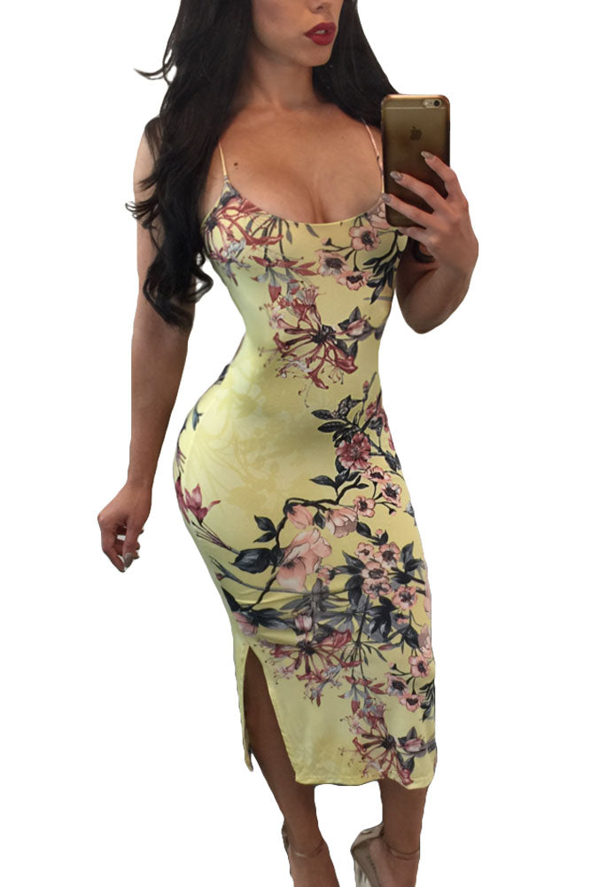 Women Floral Pattern Printed Dress Sexy Backless Club Spaghetti Straps Dress Halter Neck Side Split Out Bodycon Midi Dresses