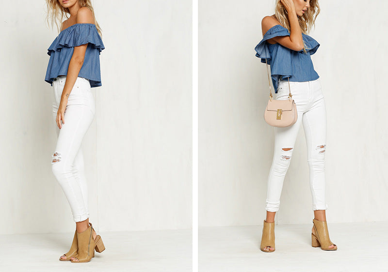 Women Summer Fashion Denim Blouse Sexy Strapless Slash Neck Shirts Ruffles Loose Short Tops