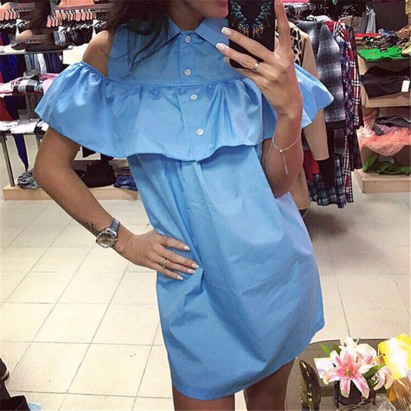 Summer Fashion Women Ruffles Shirt Dress Casual Butterfly Sleeve Dress Sexy Strapless Straight Loose Dress