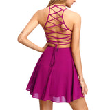 Summer Cross Lace Up Backless Spaghetti Strap Short Skater Dress Women A Line Sleeveless Mini Dress