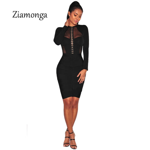 Fashion Design Cropped Mesh Patchwork Long Sleeve Black Bodycon Playsuit Button Hook Unique Design Women Sexy Bodysuit