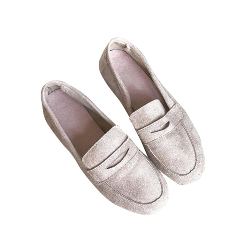 Women Flats Soft Leather Flock Vamp Flat with Slip-on Footwear Casual Shoes