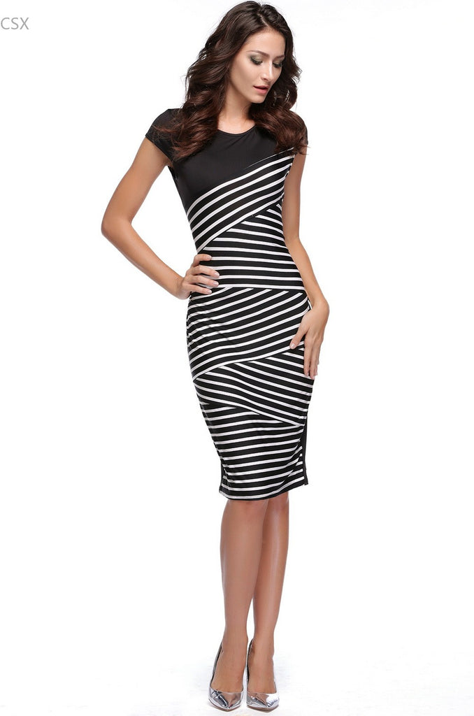 Women Vintage White Striped Tunic Fitted Sheath Shift Pencil Dress