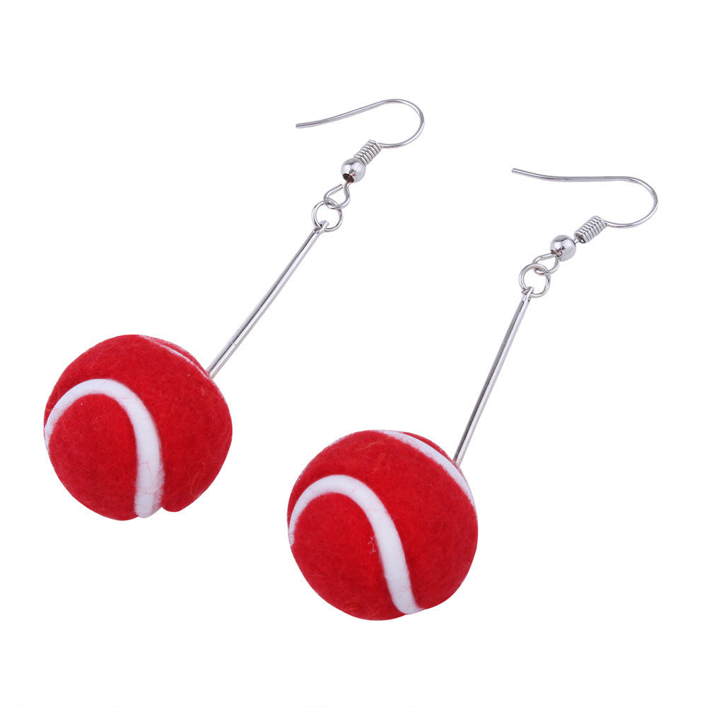 1 Pair Women Tennis Basketball Ball Ear Studs Dangle Earrings Jewelry Gift Sport - Style Lavish