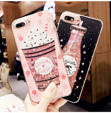 Girls Bottle Quicksand Case For iPhone 7 Case Silicone TPU PC Dynamic Liquid Glitter Cover For iPhone 6 6s 7 Plus Fundas