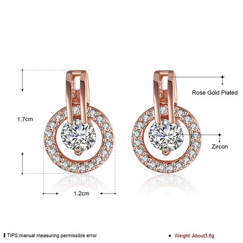 Fashion Women Jewelry Earrings Rose Gold Color Cubic Zirconia Round Stud Earrings For Women - Style Lavish