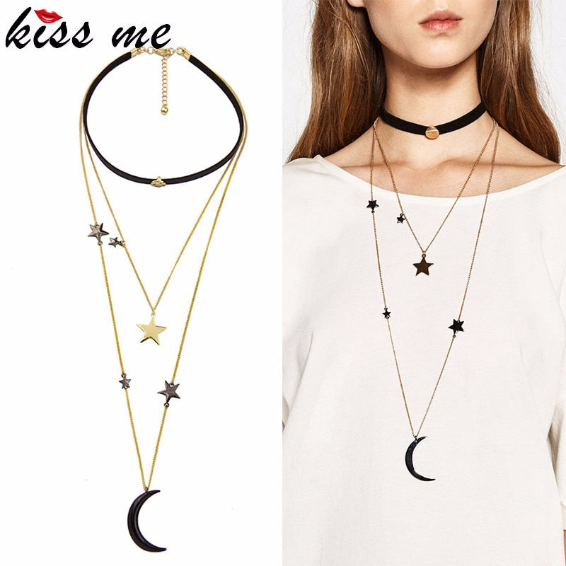 8dedd2ff9e2 Popular Choker Necklace Three Layers Alloy Stars Moon Necklaces for Wo