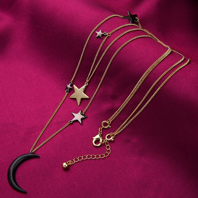 Popular Choker Necklace Three Layers Alloy Stars Moon Necklaces for Women Fashion Jewelry