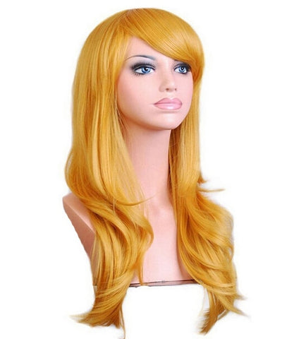 Long Wavy Cosplay Wig Red Green Puprle Pink Black Blue Sliver Gray Blonde Brown 70 Cm Synthetic Hair Wigs
