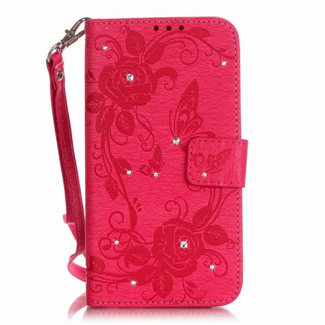For Coque Samsung Galaxy J5 Case Leather Wallet Flip Phone Case Samsung Galaxy J5 6 Case Diamond Cute Butterfly