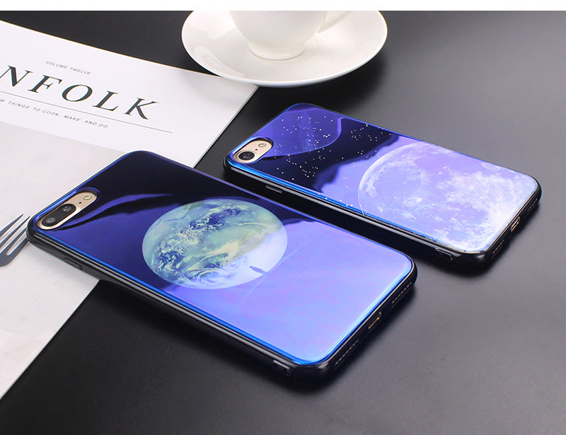 JAMULAR Electroplate Blue Light Soft Phone Cover for iPhone X 6 6s 7 8 Moon Planet Space Silicone Case for iPhone 6 6s 7 8 Plus