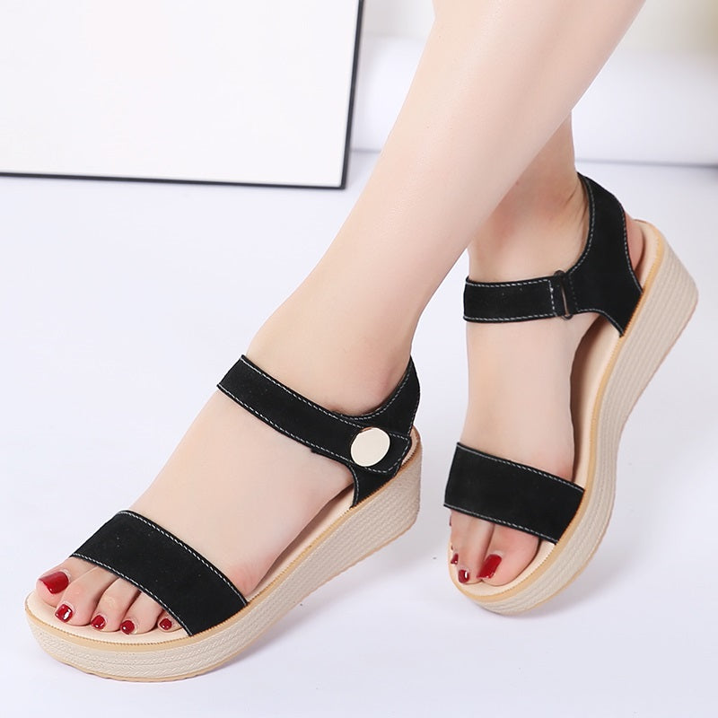 Women Summer Suede Leather Strap Sandals Shoes Espadrilles wedge Women Low Heels Sandals Gladiator